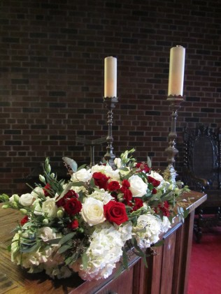Red and White Altar Flowers - Old Mill