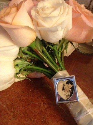 Photo Frame Detail on Bridal Bouquet