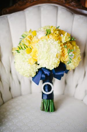 Yellow and Navy Bridal Bouquet