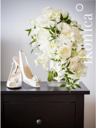 White Rose and Orchid Cascade Bridal Bouquet