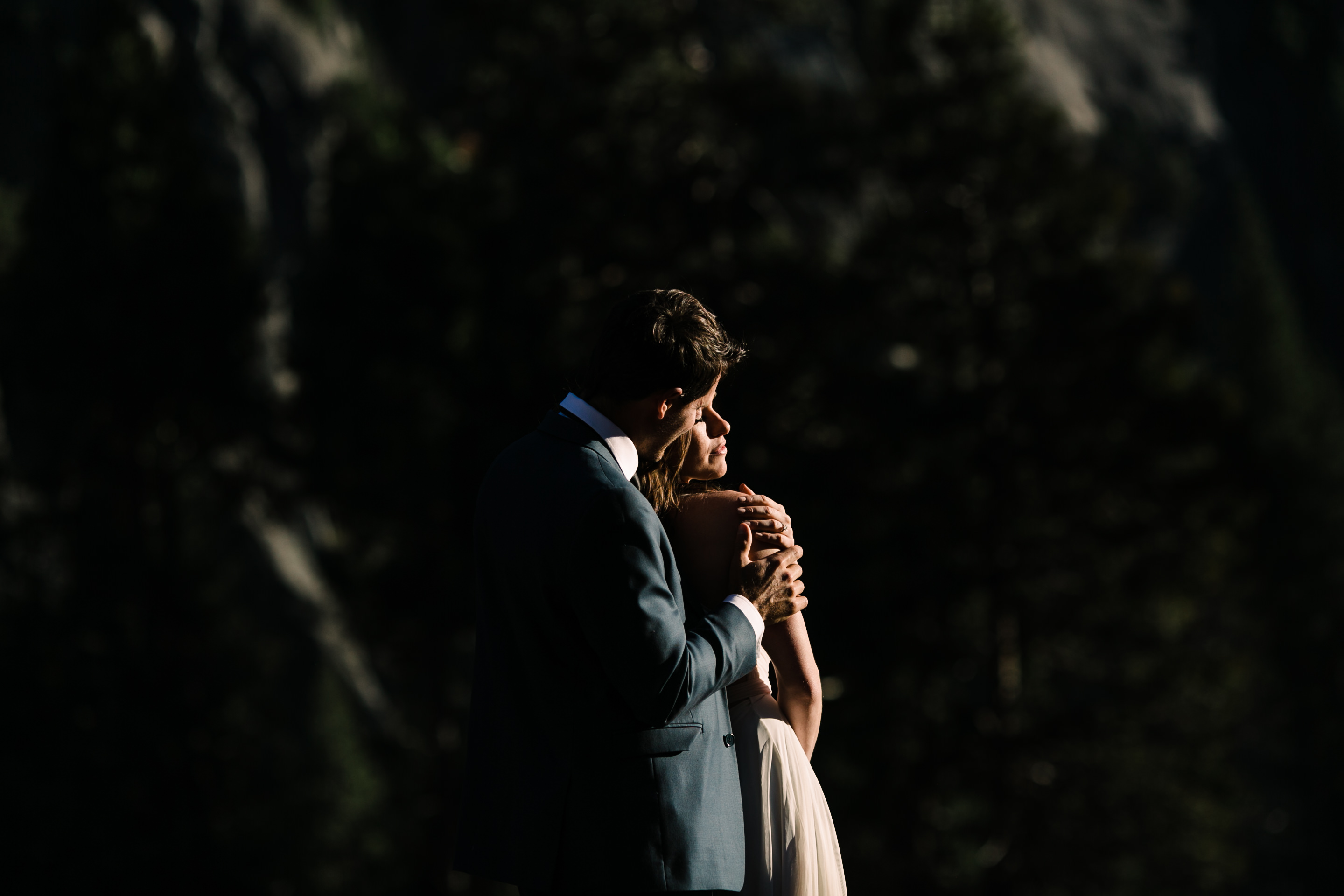 Ryan and Kim embrace during their Yosemite elopement session.
