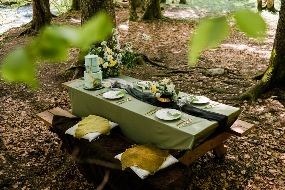 This table setting is inspired by the rich, lush greens of the French alpine Valley.
