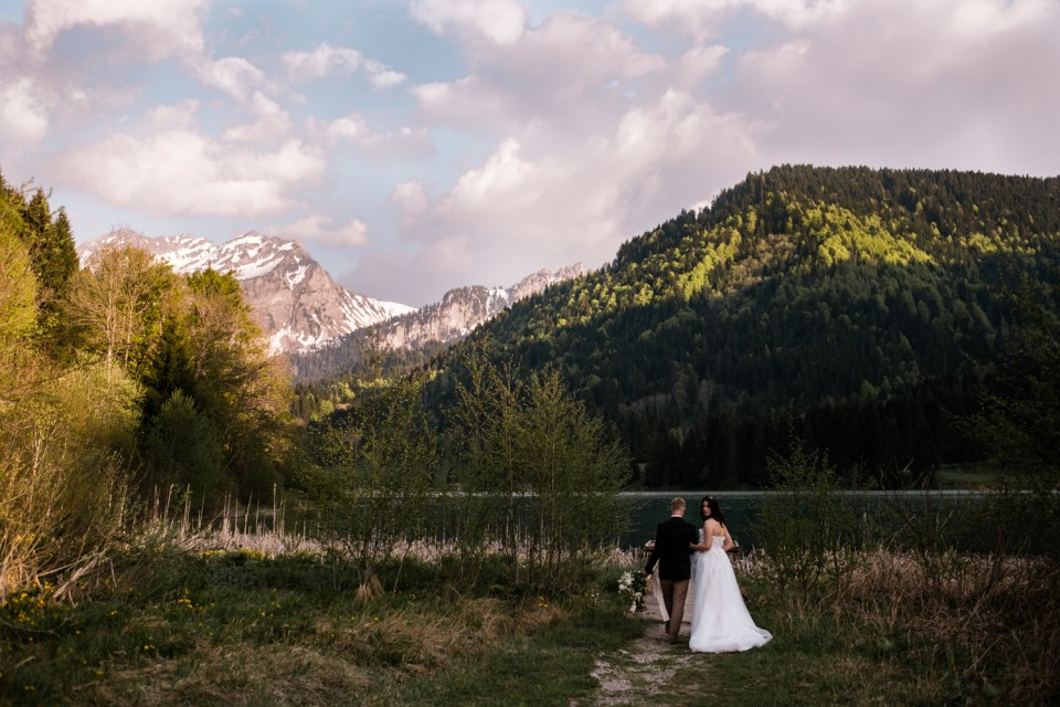 This couple eloped in a valley of the French Alps, complete with mountains, alpine lakes and old world churches.
