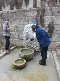 Drinking mountain spring water
