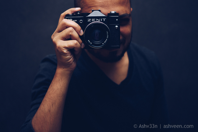 Self Portrait: Ashveen, with old Zenit Camera