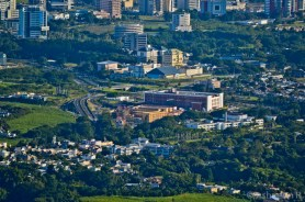 Climbing Le Pouce - View over Ebene City