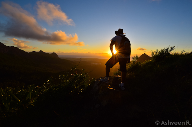 Climbing Down Le Pouce Mountain - Sunset View