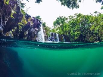 Eau Bleue Mauritius - Waterfall 1 Half Water View