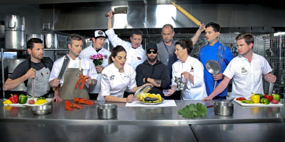 From left: Chef Jacob Sessoms of Table; Chef William Dissen, The Market Place; Chef Steven Goff, Standard Foods; Chef Katie Button, Curate; Chef Joe Scully, Chestnut and Corner Kitchen; Stu Helm; Chef John Fleer, Rhubarb; Chef Karen Donatelli, Donatelli Bakery; Chef Peter Pollay, Posana Cafe; and Chef Matt Dawes, Bull & Beggar./ Photo by STEWART O'SHIELDS for ASHVEGAS.COM