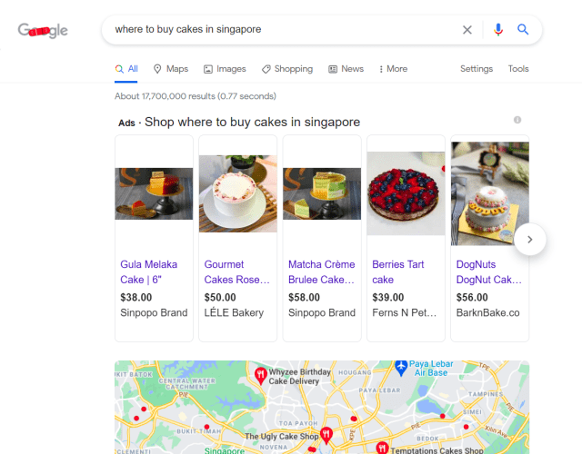 Example of SEM: Image of Google Search Ad