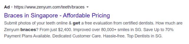 Image of plain text ad on the search engine results pages