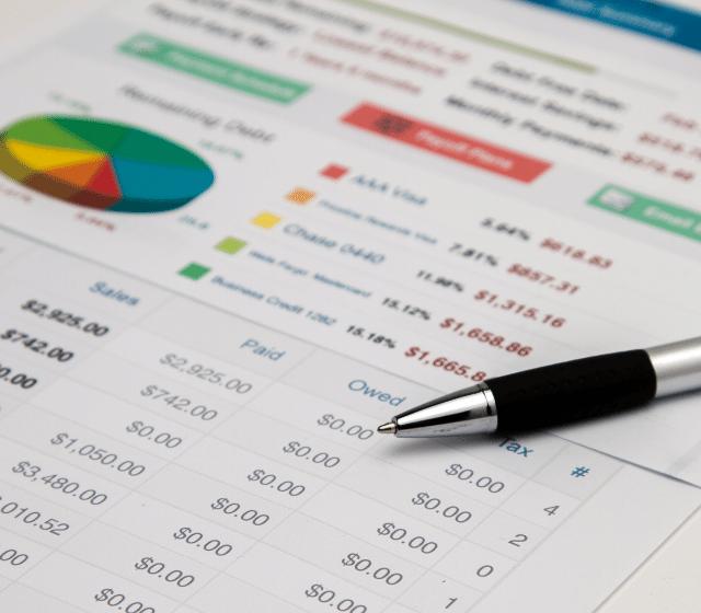 Pen on data sheet