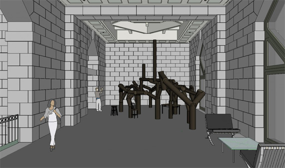 """Scaled mockup Sackler Pavilion with Ai Weiwei's installation """"Fragments""""."""