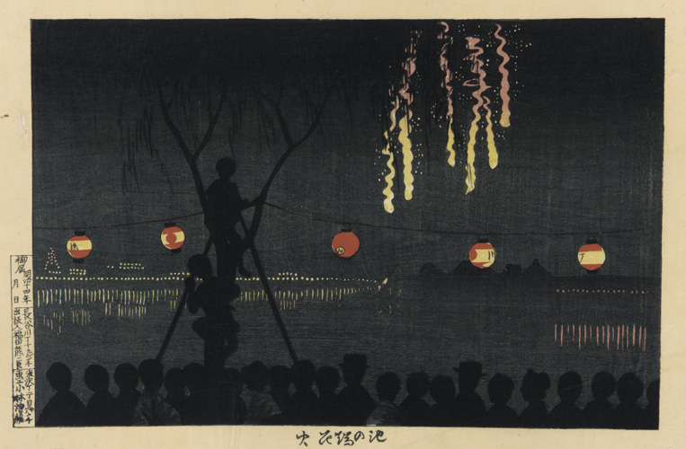 Dark silhouette of people watching yellow fireworks, with red/yellow lanterns hanging in front of them.