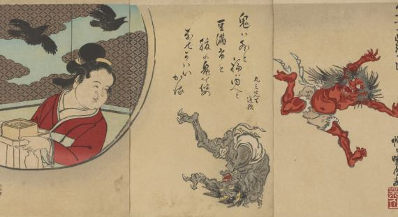 Throwing Beans by Kawanabe Kyosai, Japan, 1889, Robert O. Muller Collection, S2003.8.496