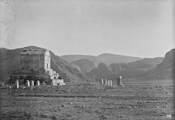 Photograph of the tomb of Cyrus the Great at Pasargadae with remains of a more recent cemetery, probably taken in 1923 © Photograph by Ernst Herzfeld, Freer|Sackler Archives