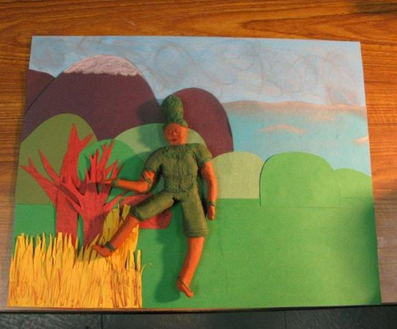 Claymation close-up: a detail from one student's project.