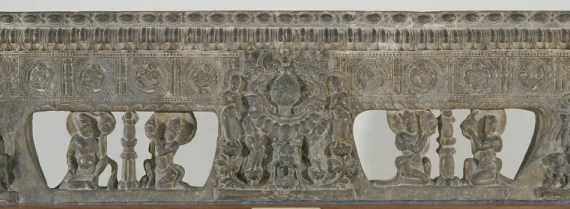 Frontal from the base of a funerary couch with Sogdian musicians and dancers and Buddhist divinities; 550-577; China; Gift of Charles Lang Freer, F1915.110
