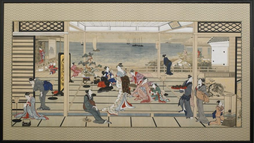 Moonlight Revelry at Dozo Sagami; Kitagawa Utamaro; Japan, Edo period, late 18th–early 19th century; ink and color on paper; Gift of Charles Lang Freer, F1903.54