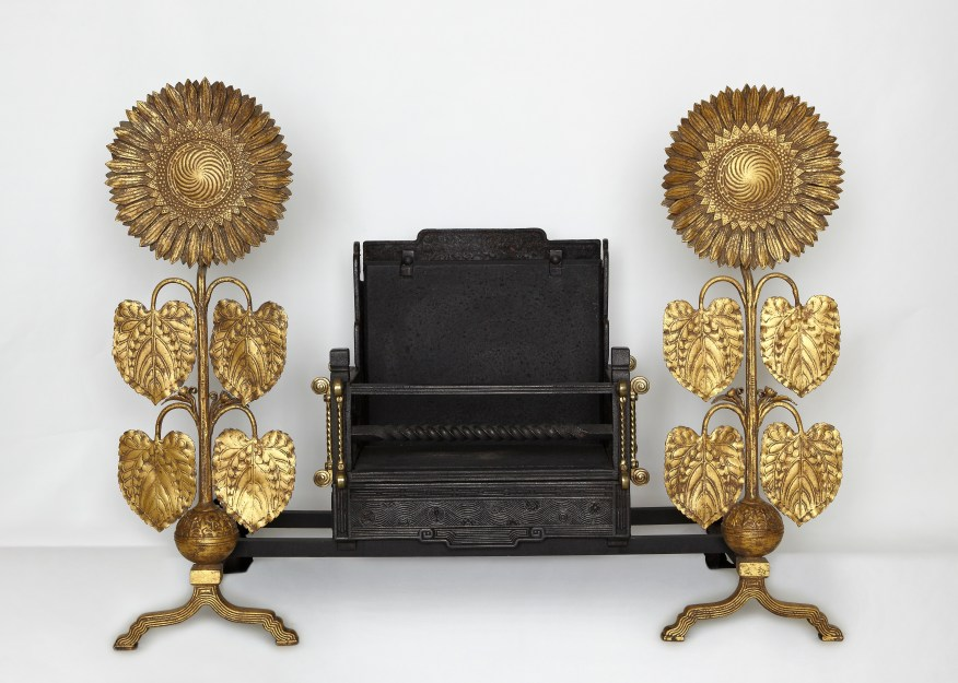 Sunflower and irons; Thomas Jeckyll; England, ca. 1878–84; iron with gilding; Gift of Charles Lang Freer, FSC-M-66a–b