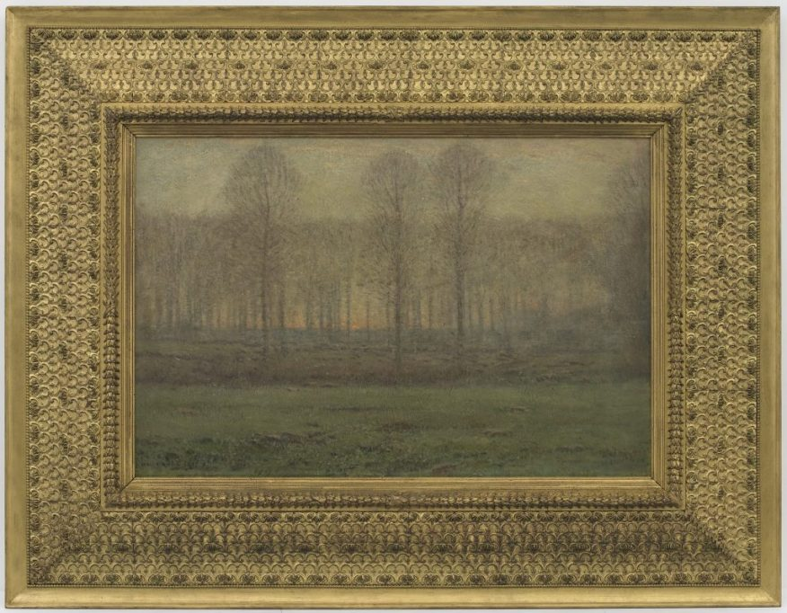 """""""Sunrise: April""""; Dwight William Tryon; United States, 1897–99; oil on wood panel; Gift of Charles Lang Freer, F1906.79a–b"""
