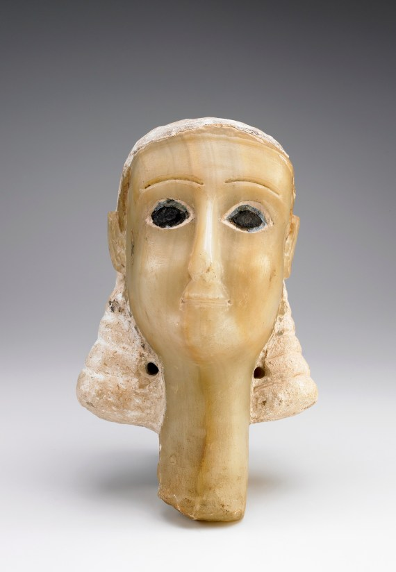 """Head of a Woman (known as """"Miriam""""); Yemen, Wadi Bayhan, 1st century BCE-mid-1st century CE: Alabaster, Stucco, and Bitumen; Gift of the American Foundation for the Study of Man (Wendell and Merilyn Phillips Collection); S2013.2.139"""