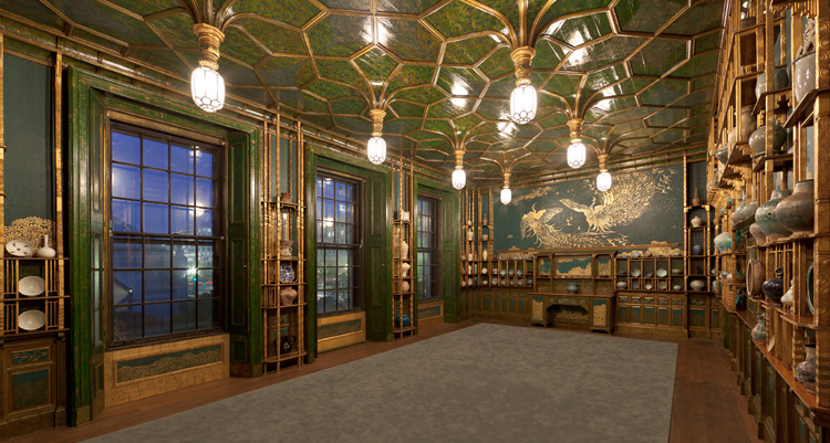 Light from the open shutters illuminates the Peacock Room.