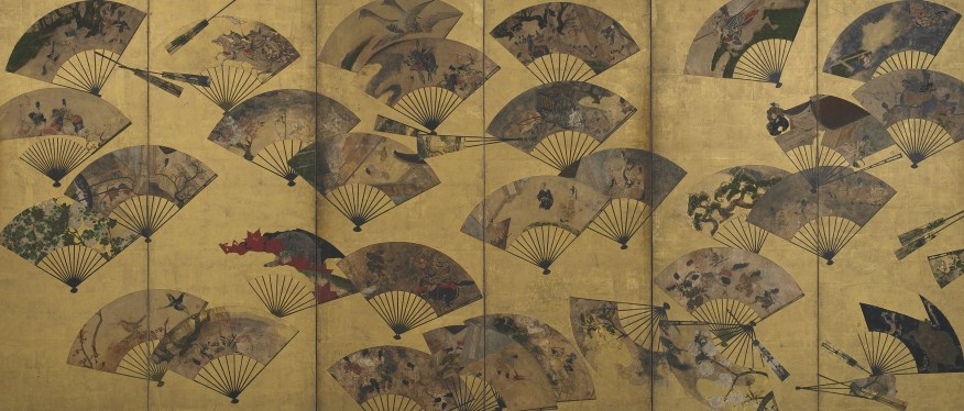 <em>Screen with Scattered Fans</em>; Tawaraya Sōtatsu (act. ca. 1600–40); Japan, early 17th century; six-panel folding screen; color, gold, and silver over gold on paper; Freer Gallery of Art, Gift of Charles Lang Freer, F1900.24