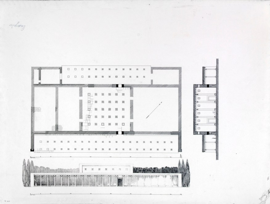 Palace P: Herzfeld's reconstructed ground plan and elevation of the ruins; Friedrich Krefter, Iran, 1928; ink on paper; Ernst Herzfeld Papers, FSA.A.6.05.0807