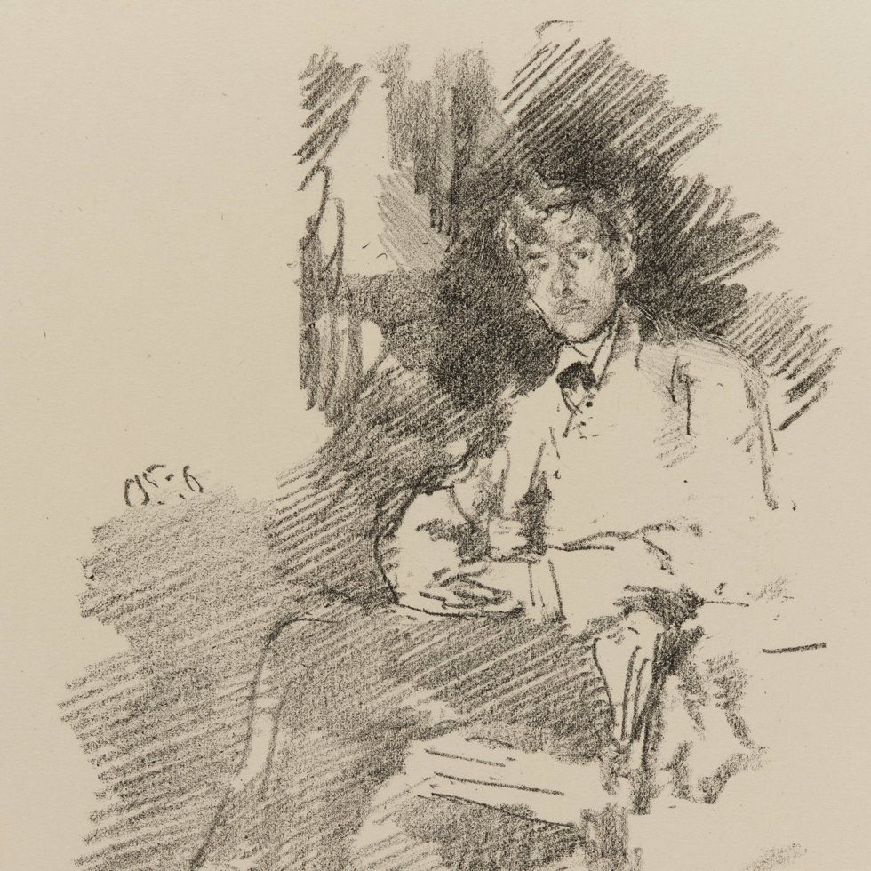 Lithograph drawing of Walter Richard Sickert on paper