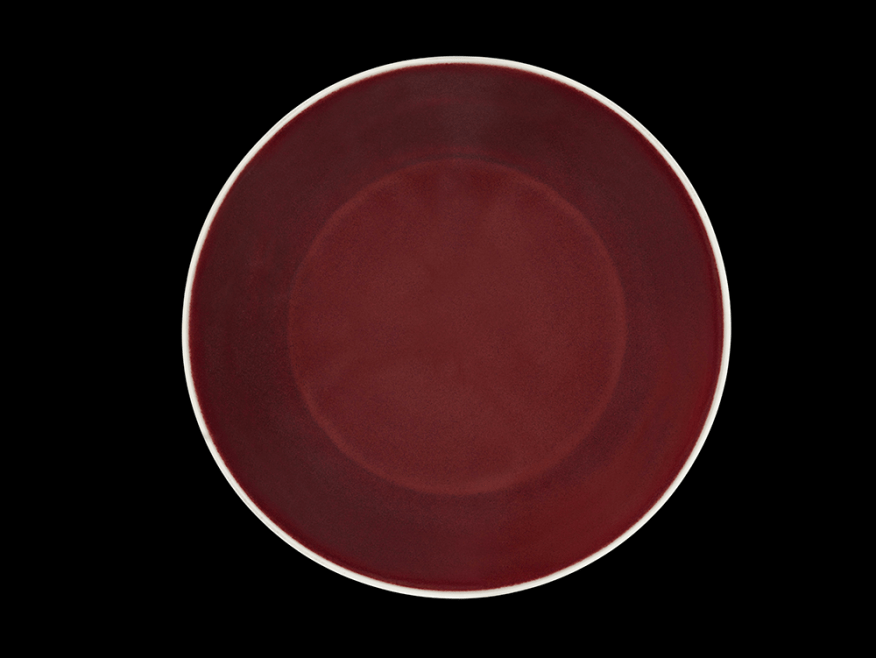 Dish with copper-red glaze; China, Jiangxi province, Jingdezhen, Ming dynasty, Xuande (1426–35) mark and period; porcelain with copper-red glaze; on the base, a six-character cobalt-oxide (blue) reign mark in a double circle under colorless glaze; Purchase—Freer Endowment and Friends of the Freer and Sackler Galleries F2015.2