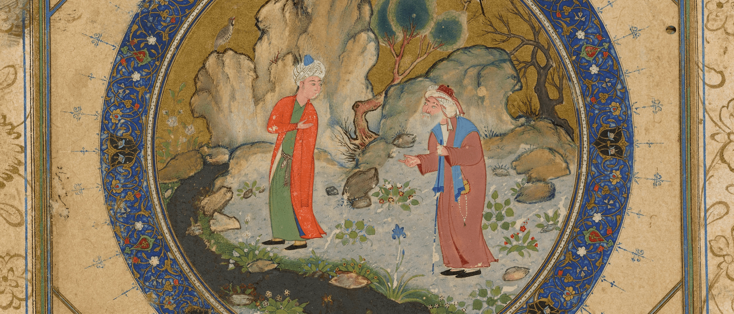 An old man and a youth in a mountain landscape.