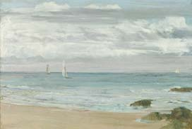 painting of the oceanside with sail boats in the distance