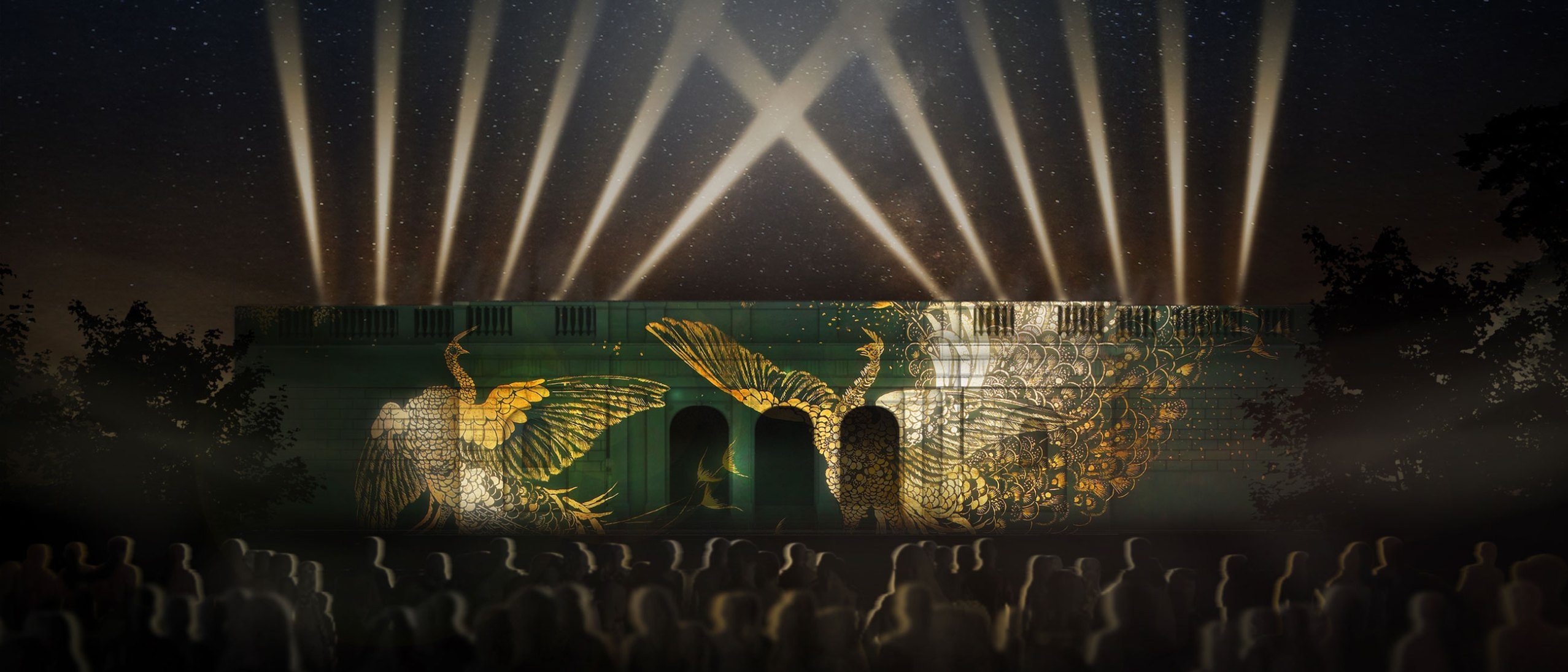 "Rendering of the Freer facade featuring ""A Perfect Harmony"" - projection artwork"