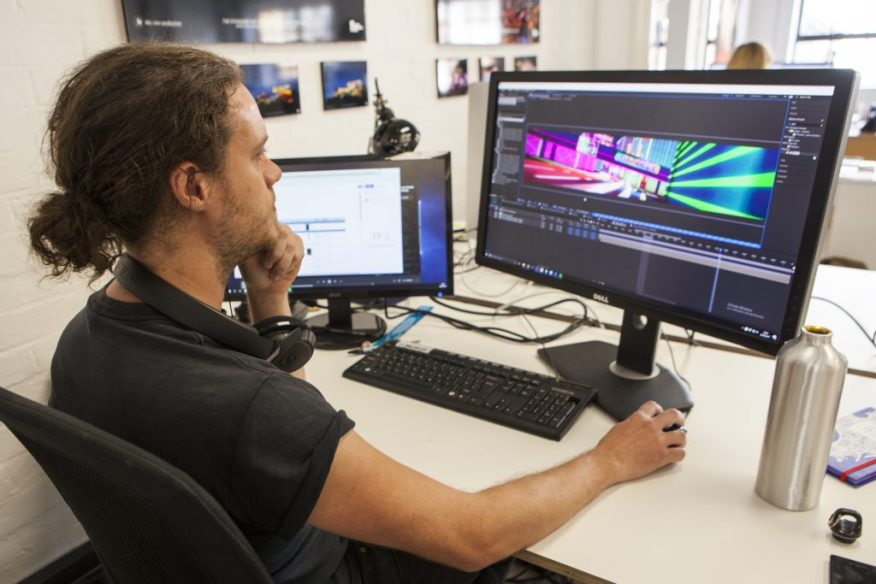 A member of the team works on 3D animation