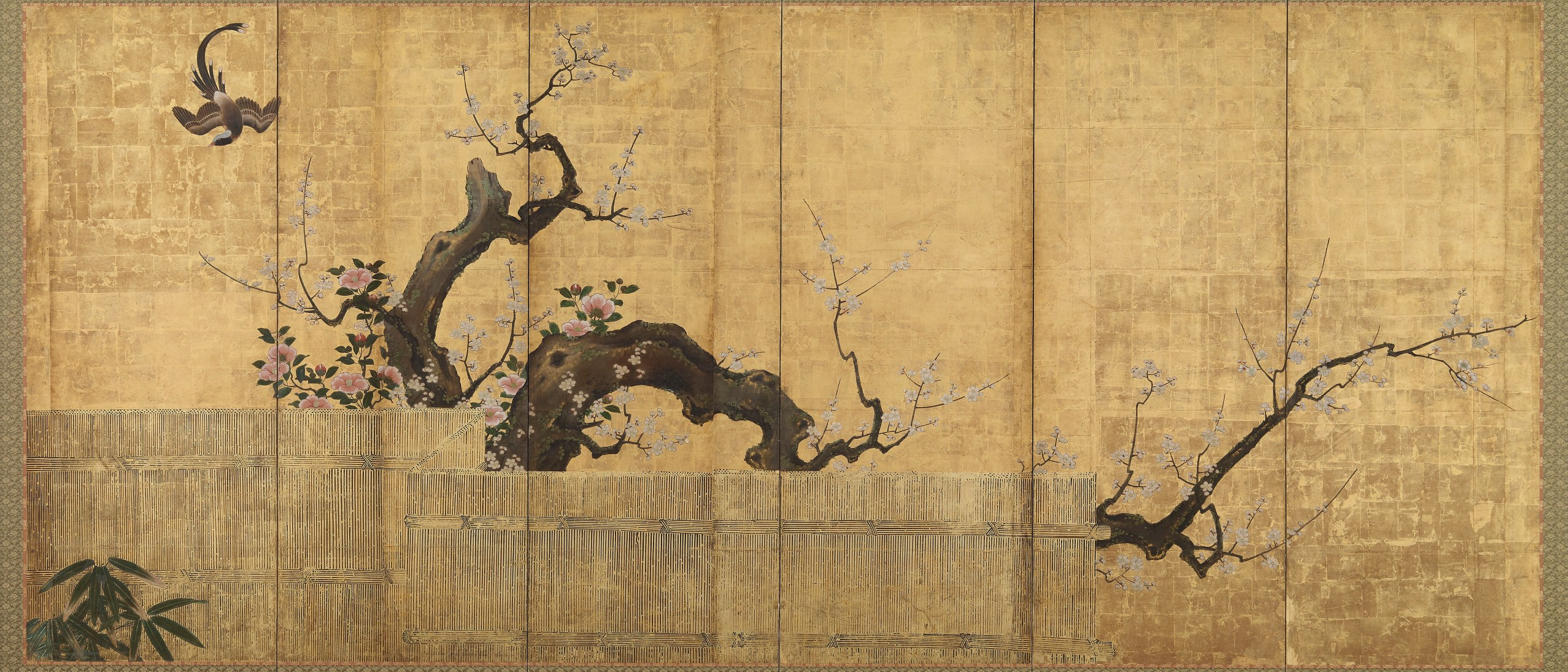 Blossoming Plum and Camellia in a Garden; Kano Kōi (d. 1636); Japan, Edo period (1615–1868); six-panel screen; ink, color, and gold on paper; Gift of Charles Lang Freer, F1902.21