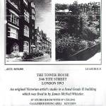 A copy of a single-leaf flyer advertising the sale of Whistler's former residence in London. Image text: John D Wood & Co. London and Country estate Agents. Established 1872. Price: £650,000. Leasehold. The Tower House, 3/46 Tite Street, London SW3. An original Victorian artist's studio in a listed Grade 2 building which was lived in by James McNeil Whistler. 35' Studio Room with 19' Ceiling. Galleried dining area. Kitchen. Principal bedroom with en suite bathroom/dressing room. Two further bedrooms. Bathroom. Cloakroom. Lift. Independent gas central heating and hot water. Security system. John D Wood & Co., 26 Curzon Street, London W1Y 7AE. Tel: 072-408 0055 Fax: 072-408 0788