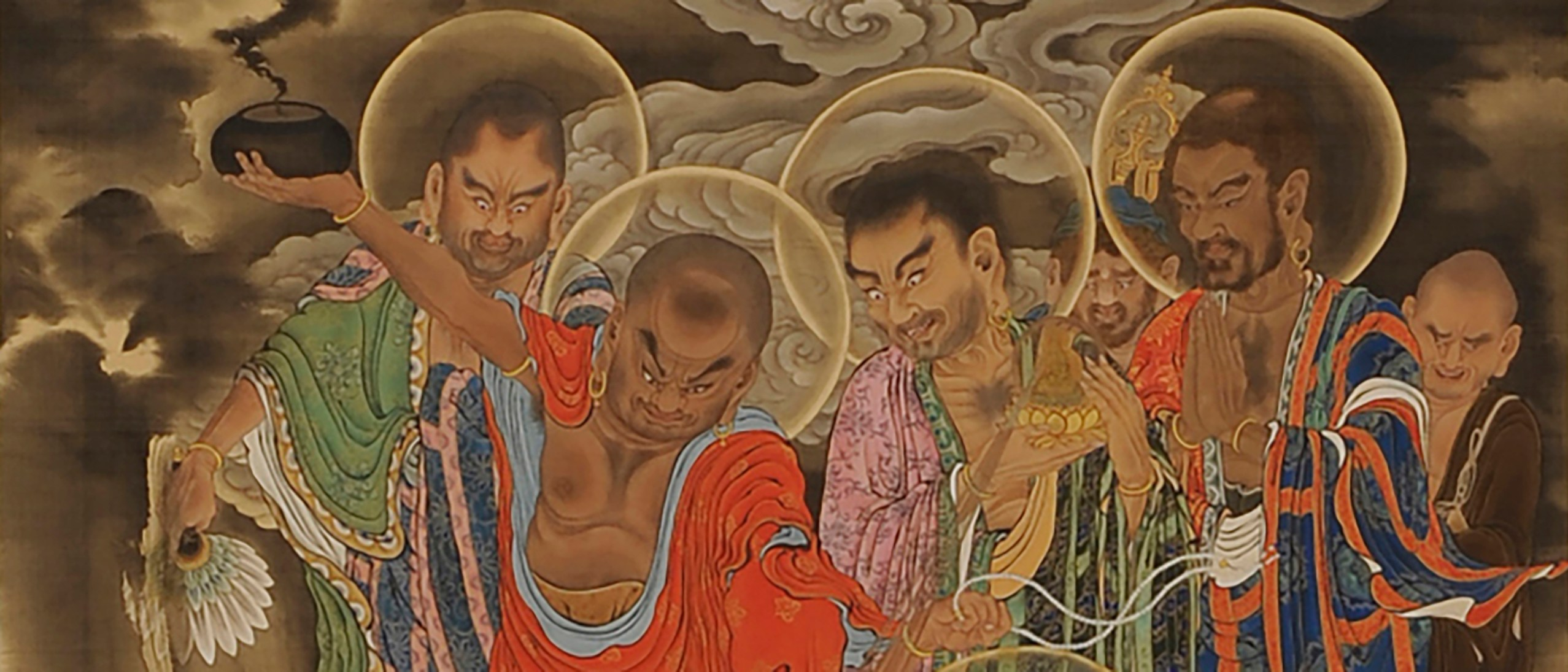 Detail image, The Six Realms: Hell, Five Hundred Arhats: Scroll 22; Kano Kazunobu (1816–63); Japan, Edo Period, ca. 1854–63; Hanging scroll, ink and color on silk; Collection, Zōjōji, Tokyo