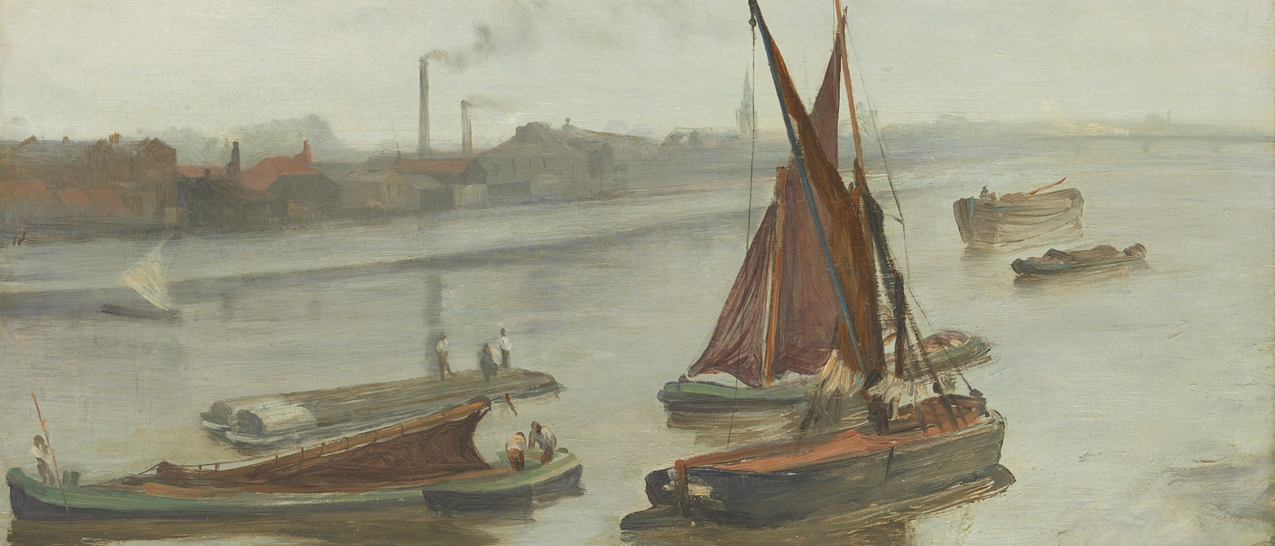 Detail, Grey and Silver–Old Battersea Reach, by James McNeill Whistler. Oil on canvas, 1863. The Art Institute of Chicago.
