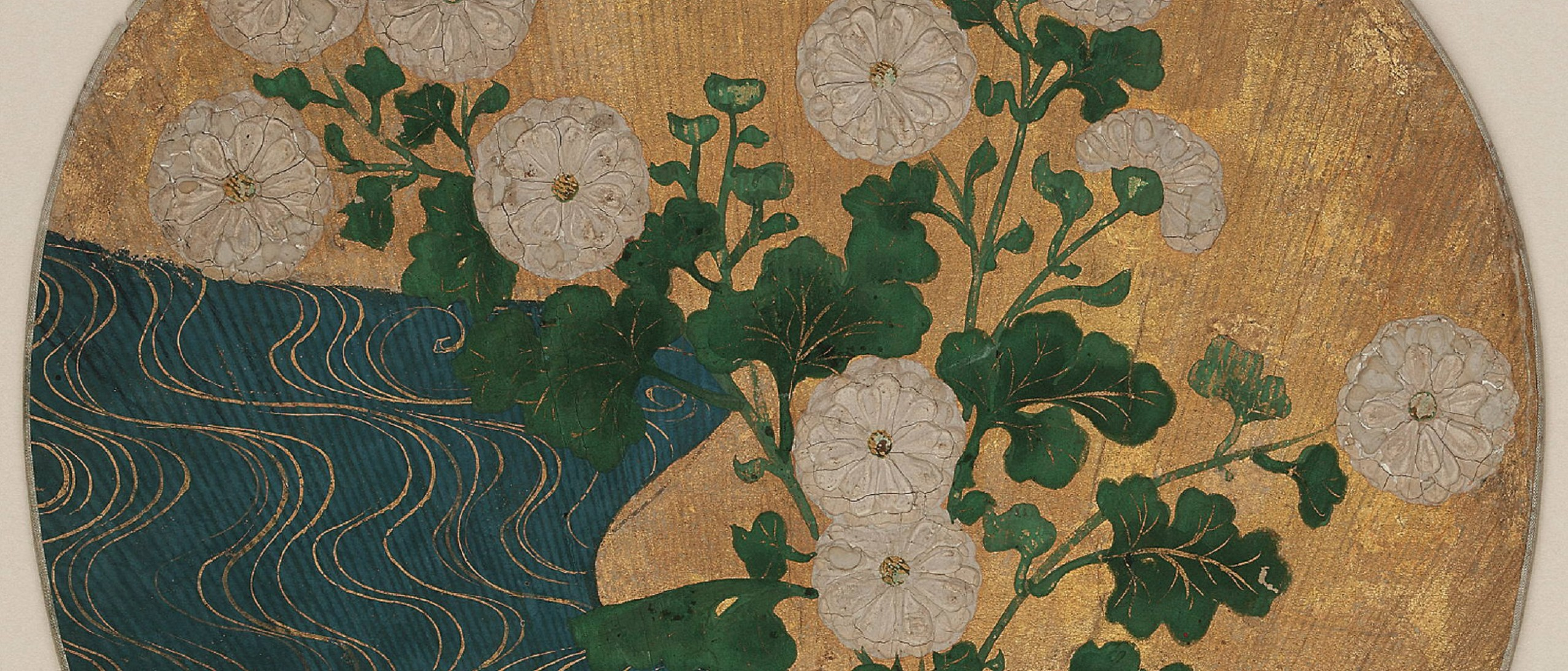 Detail, : On one side Narihira and the pilgrim; on the other, chrysanthemums and a brook, F1903.1