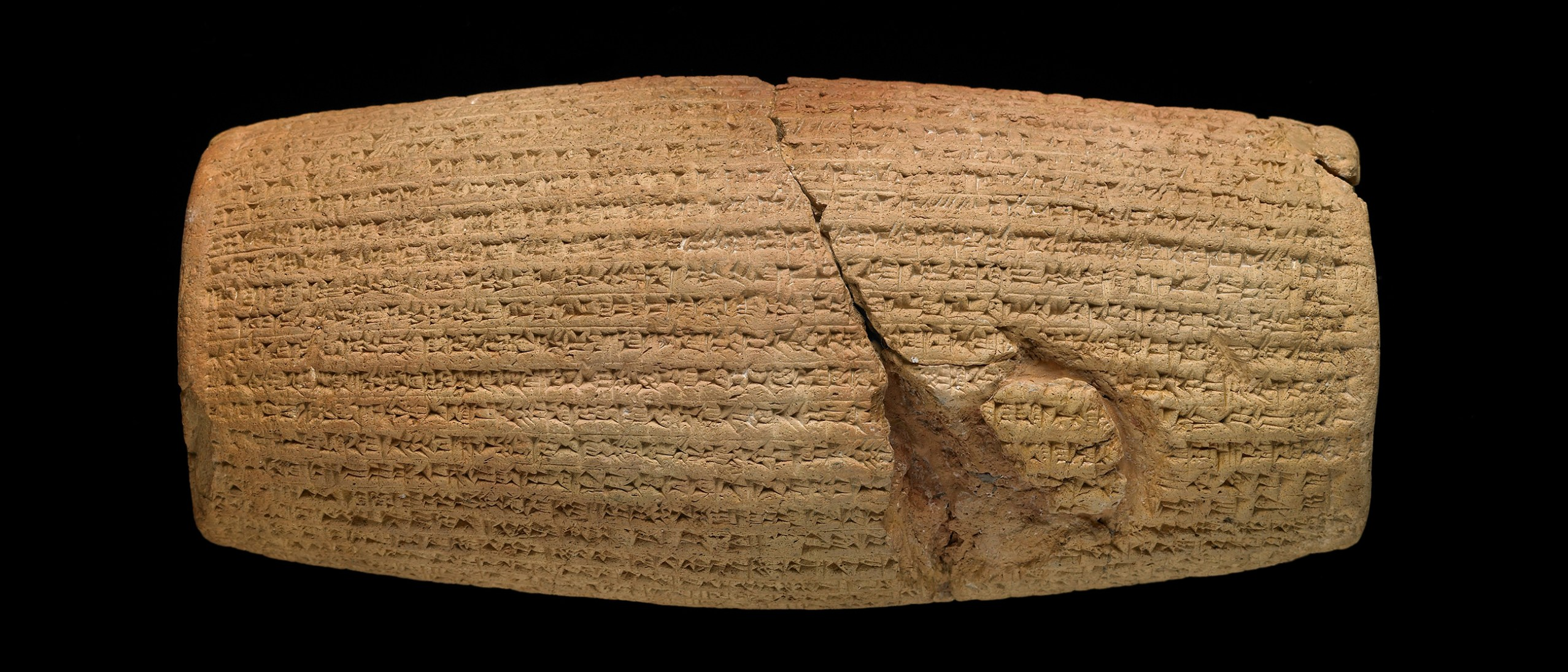 The Cyrus Cylinder; Clay, Babylon, Mesopotamia, after 539 BCE; D x H: 7.8-10 x 21.9-22.8 cm; British Museum, London, ME 90920; Photo: ©The Trustees of the British Museum