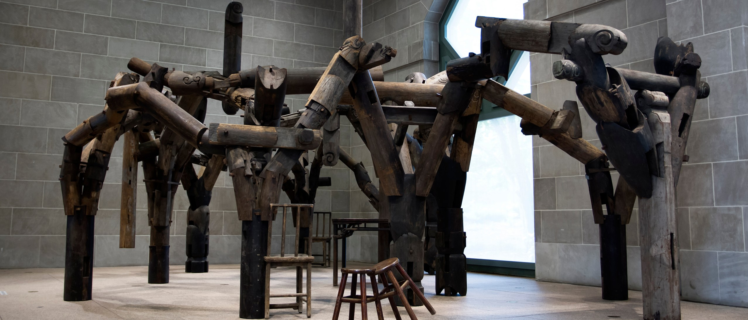 Image, Fragments, 2005. Ironwood (tieli). Tables, chairs, parts of beams, and pillars from dismantled temples of the Qing dynasty (1644–1911). Sigg Collection