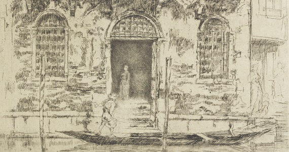 Etching of a man on a gondola, in front of a building with a woman standing in the doorway.