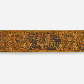 Pen case with Nasir al-Din Shah and scenes from the Shahnama