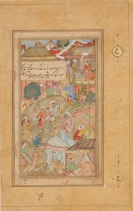 A cluster of tents and Babur and his men