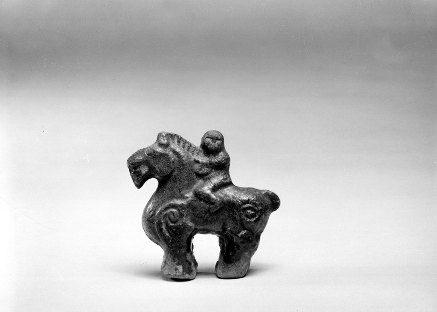 Photo, Glazed earthenware horse and rider. Six Dynasties period, 5th–6th century., H: 5.7 cm. (2 1/4 in.) Singer catalogue number: [1142].