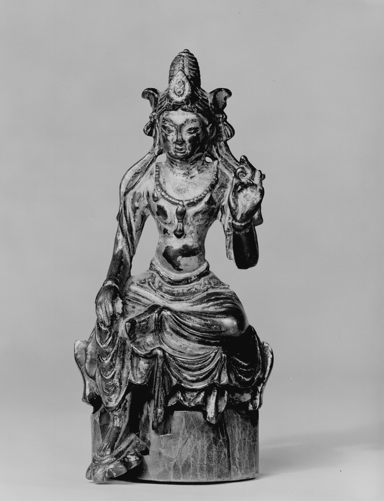 Photo, Gilt bronze seated Bodhisattva. Tang dynasty, 618–907., H: 12.1 cm. (4 3/4 in.) Singer catalogue number: [1351].