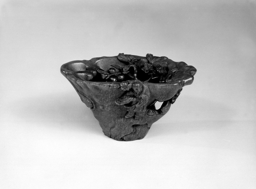 Photo, Rhinoceros horn cup. Qing dynasty, 18th century., L: 10.3 cm. (4 1/16 in.) Singer catalogue number: [1750].