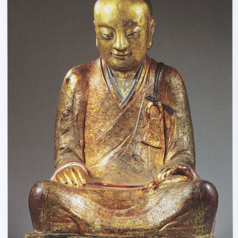 Guilded lacquer sculpture that contained the mummy of a monk