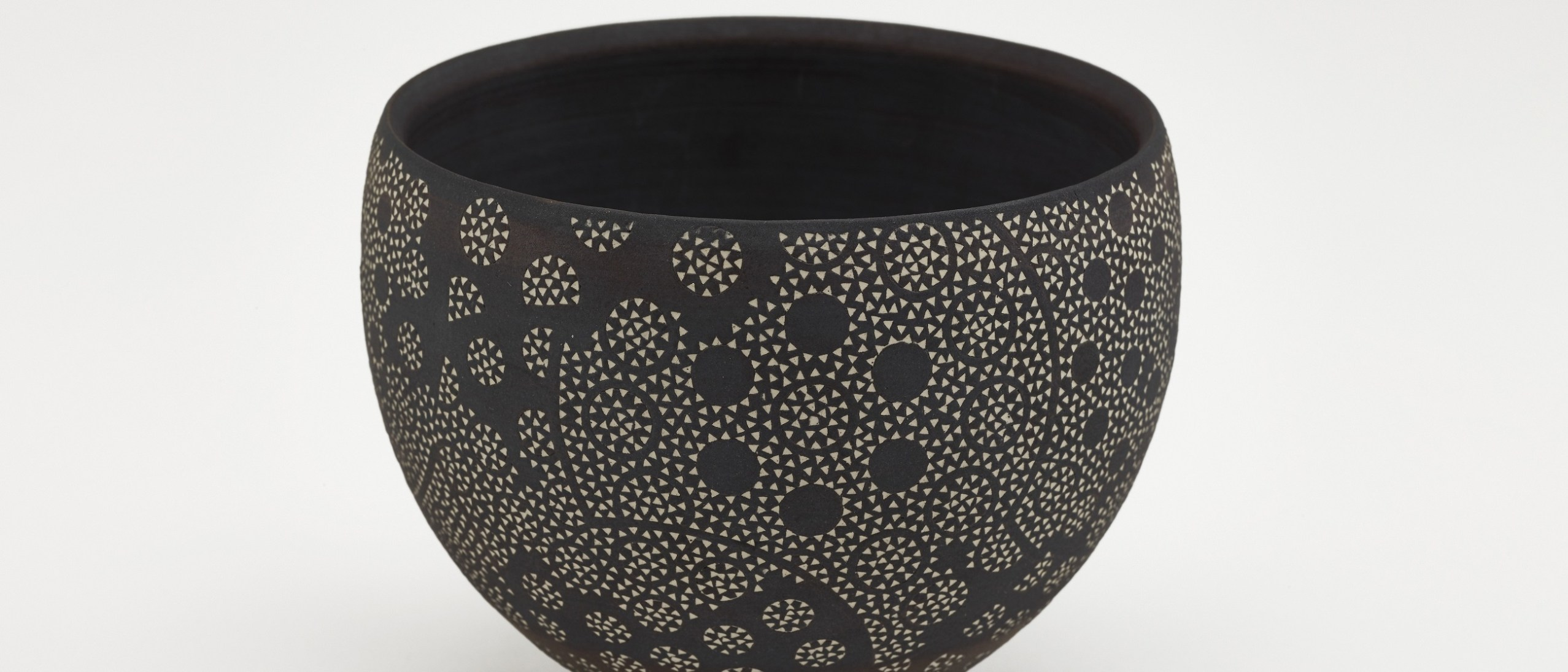 Photo of Bowl; Kitamura Junko (b. 1956); Japan, Kyoto, 1995; Black stoneware with white slip inlay; Gift of Halsey and Alice North; Arthur M. Sackler Gallery S2017.22